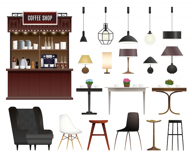 Conjunto realista de cafetería vector gratuito