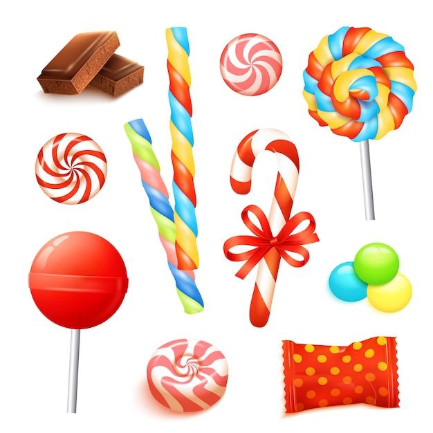 Conjunto realista de caramelo vector gratuito