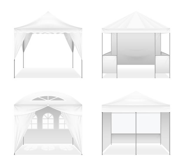 Conjunto realista de carpas plegables para exteriores vector gratuito