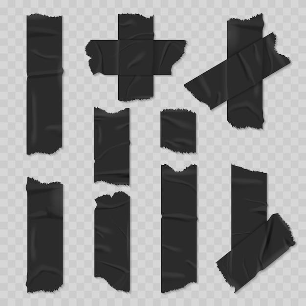 Conjunto realista de cinta adhesiva de conducto negro vector gratuito