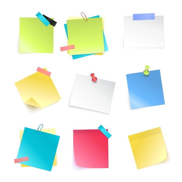 Conjunto realista de coloridas notas adhesivas en blanco con marcadores y clips aislados en ilustración de vector de fondo blanco vector gratuito