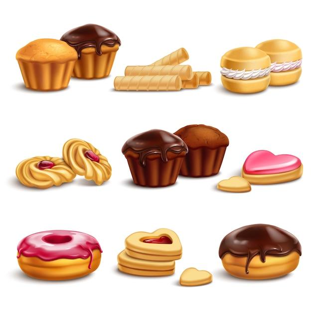 Conjunto realista de cookies y buisquits vector gratuito