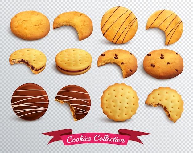Conjunto realista de cookies de diferentes formas enteras y mordidas aisladas en transparente vector gratuito