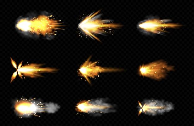 Conjunto realista de disparos con fuego y humo. vector gratuito