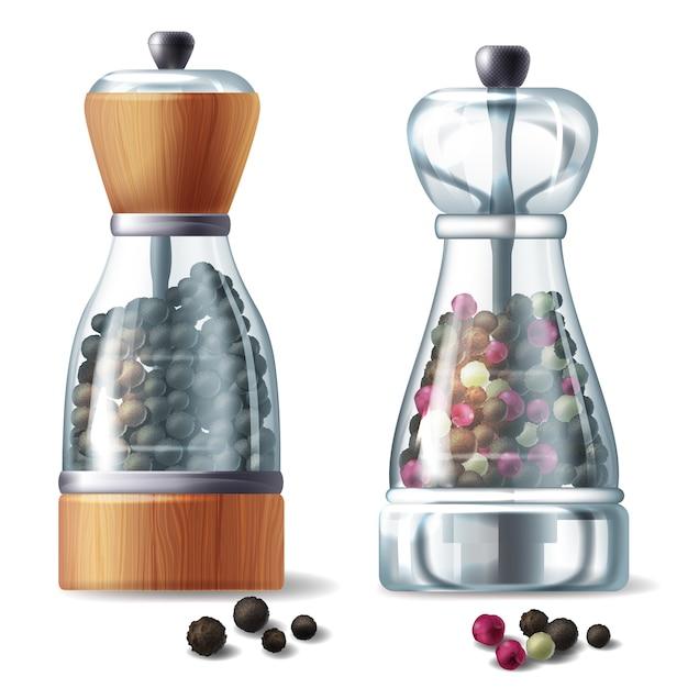 Conjunto realista de dos molinos de pimienta, recipientes de vidrio llenos de diferentes granos de pimienta vector gratuito