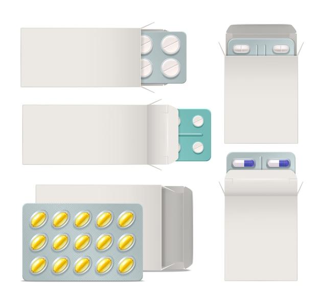 Conjunto realista de envases de papel abiertos con ampollas de píldoras y cápsulas de medicamentos. vector gratuito