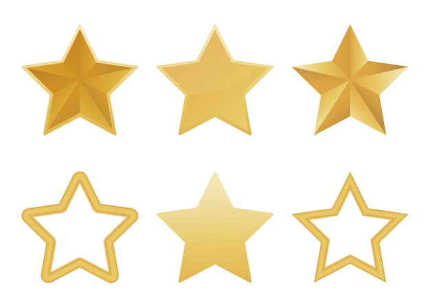 Conjunto de realista estrella dorada 3d aislada en blanco Vector Premium