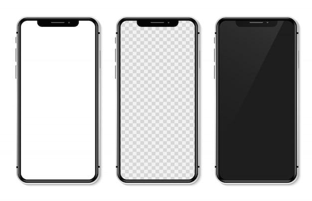 Conjunto realista ilustración de iphone x Vector Premium