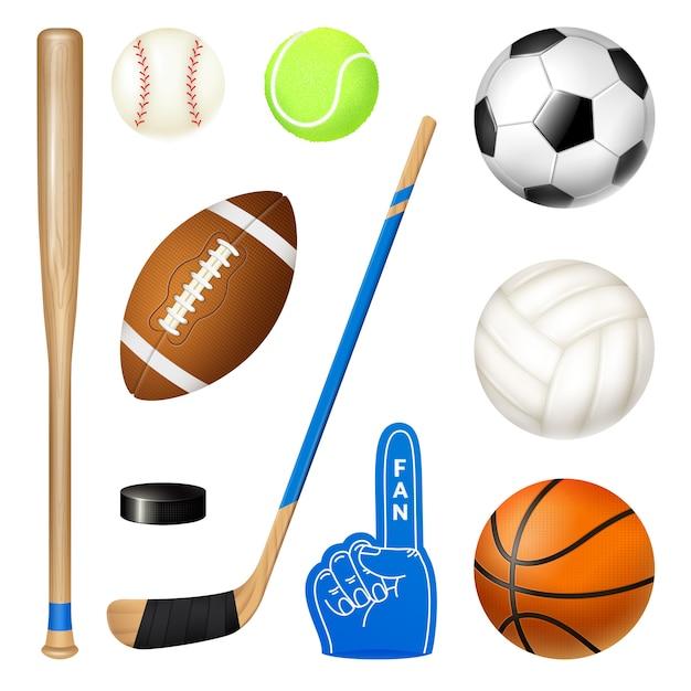 Conjunto realista de inventario deportivo vector gratuito