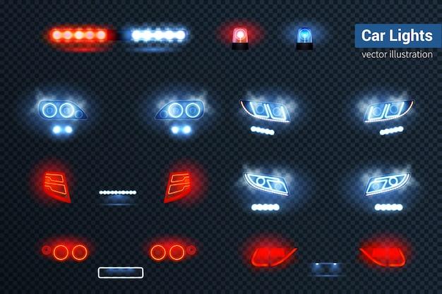 Conjunto realista de luces de coche vector gratuito