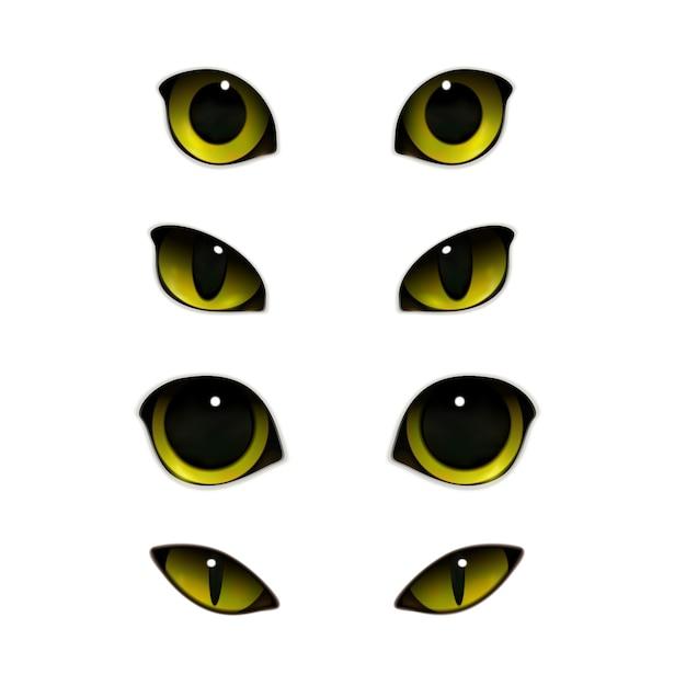 Conjunto realista de ojos de gatos vector gratuito