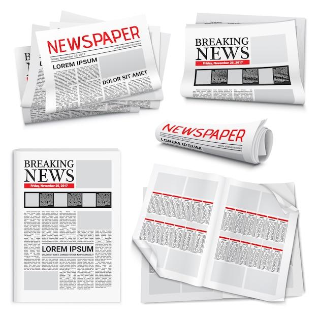 Conjunto realista de periódico vector gratuito