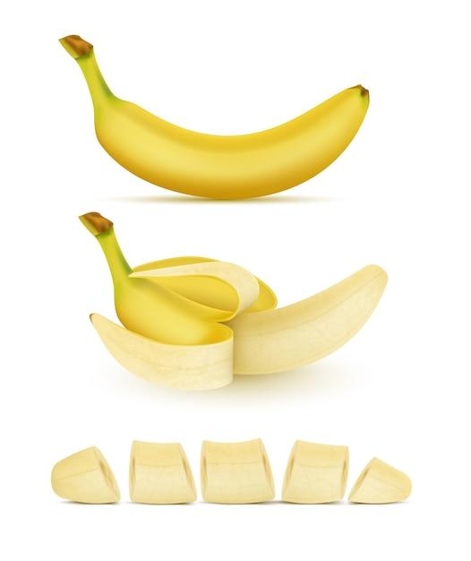 Conjunto realista de plátanos amarillos, entero, pelado y en rodajas, aislado en el fondo. dulce trop vector gratuito