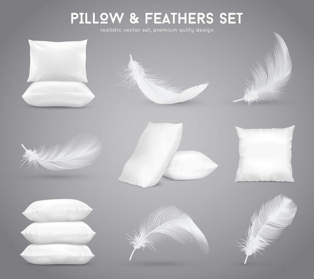 Conjunto realista de plumas y almohadas vector gratuito