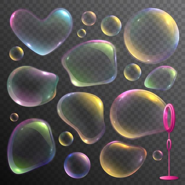 Conjunto realista de pompas de jabón deformadas coloridas aisladas en transparente vector gratuito