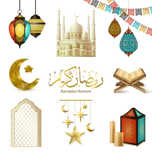 Conjunto realista de ramadán kareem vector gratuito