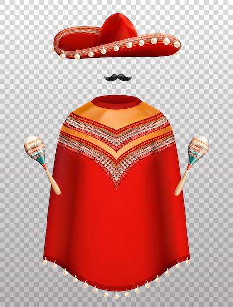 Conjunto realista de ropa tradicional mexicana con sombrero poncho y maracas aislado en transparente vector gratuito