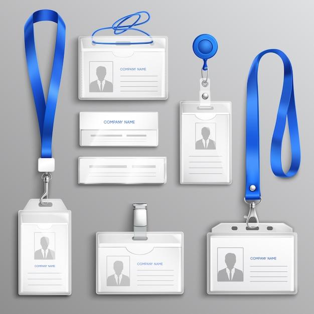 Conjunto realista de titulares de tarjetas de identificación vector gratuito