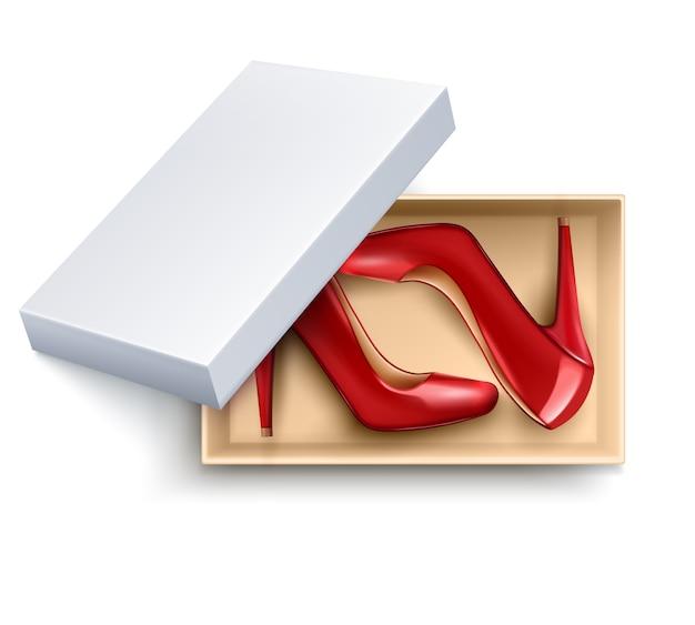 Conjunto realista de zapatos en caja vector gratuito