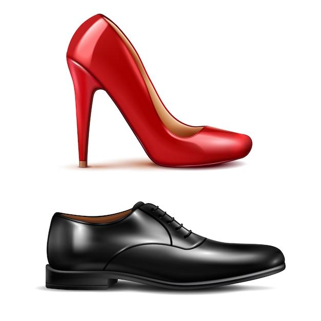 Conjunto realista de zapatos vector gratuito