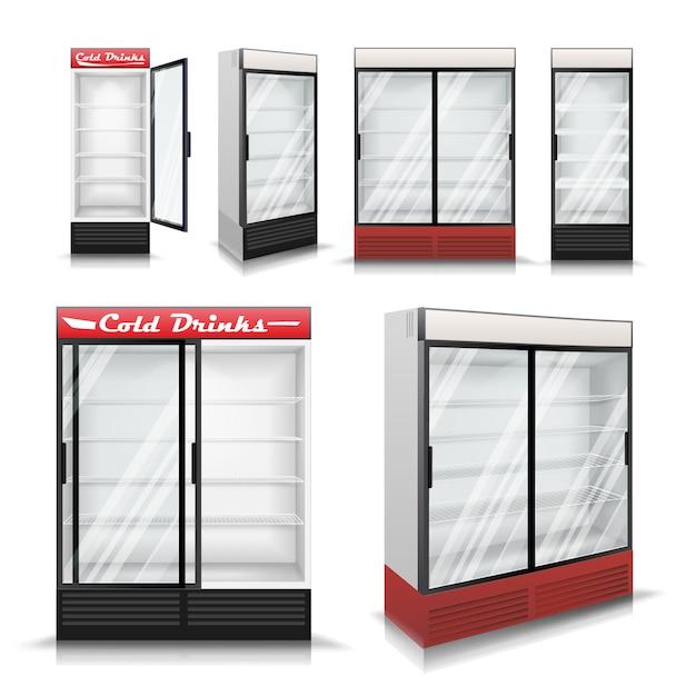 Conjunto de refrigerador realista Vector Premium