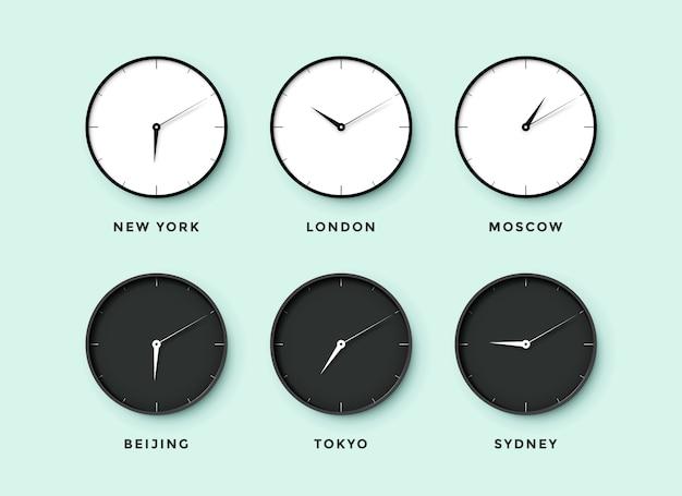 Conjunto de reloj diurno y nocturno para zonas horarias de diferentes ciudades. reloj en blanco y negro sobre un fondo mentol. ilustración Vector Premium