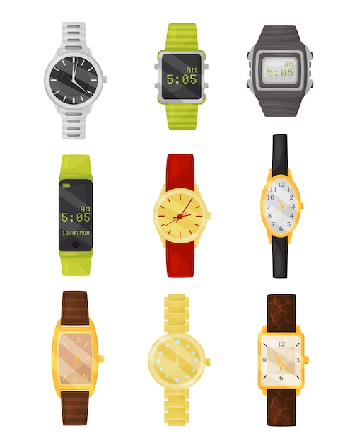 Conjunto de relojes mecánicos y digitales. accesorio con estilo. dispositivos electrónicos Vector Premium
