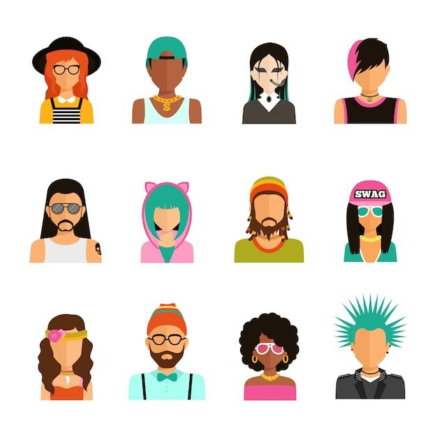 Conjunto de retratos de personas de subcultura vector gratuito