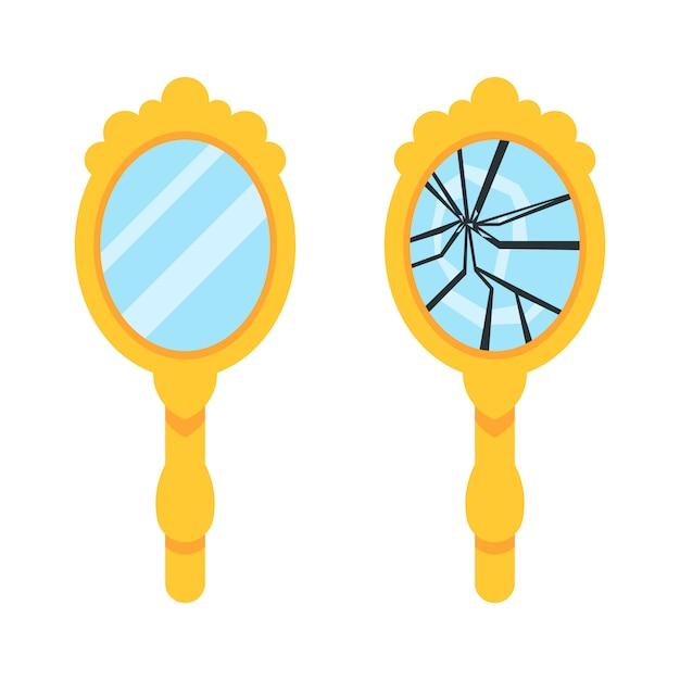 Conjunto retro espejo de mano Vector Premium