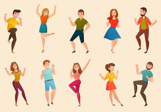 Conjunto retro de personas bailando vector gratuito