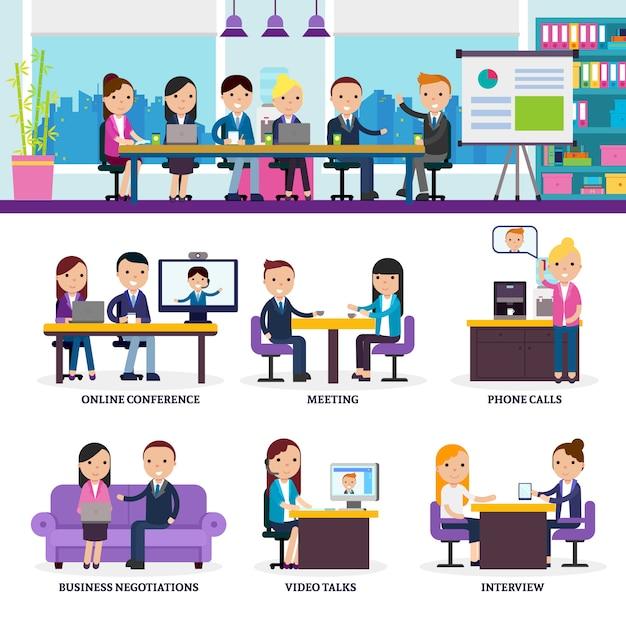 Conjunto de reunión de gente de negocios vector gratuito