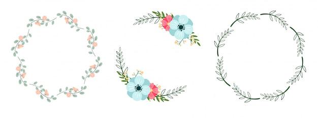 Conjunto de románticas coronas botánicas aisladas en blanco. marcos florales. Vector Premium