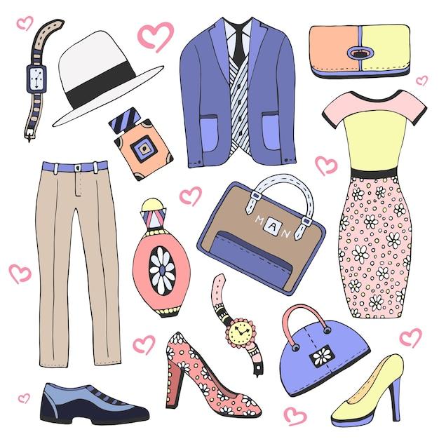 6c3318d902da Conjunto de ropa y accesorios de moda. doodles vector boceto iconos ...