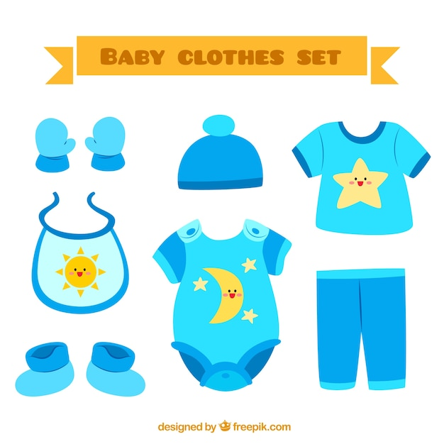 18702559e Conjunto de ropa de bebé Vector Premium