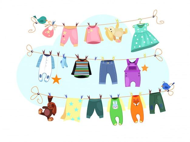 Conjunto de ropa de bebé vector gratuito