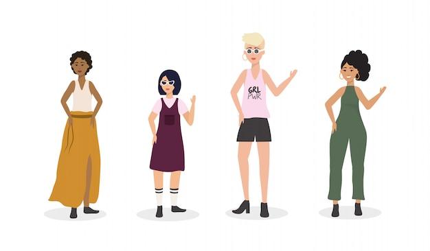 Conjunto de ropa casual de mujer y peinado. vector gratuito