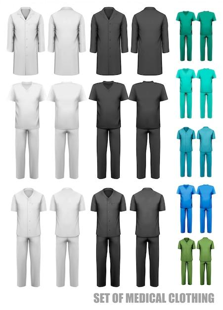 Conjunto de ropa médica. plantilla de diseño. ilustración. Vector Premium
