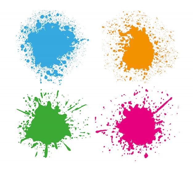 Conjunto de salpicaduras de colores Vector Premium