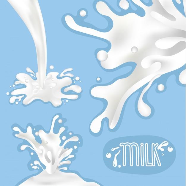 Conjunto de salpicaduras de leche, ilustración vectorial Vector Premium