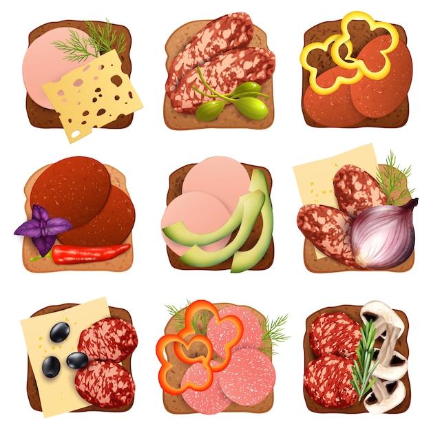 Conjunto de sándwich de salchicha realista vector gratuito