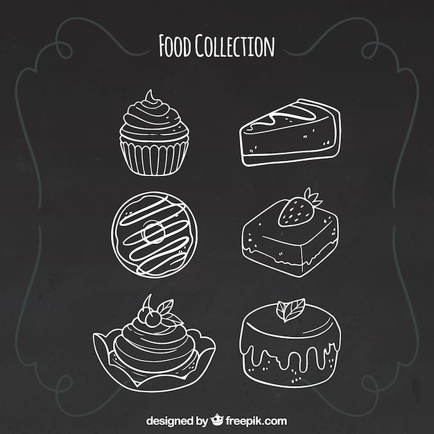 Conjunto de seis elementos de comida en estilo de pizarra vector gratuito