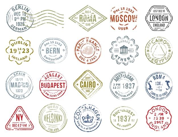 Conjunto de sellos postales coloridos vector gratuito