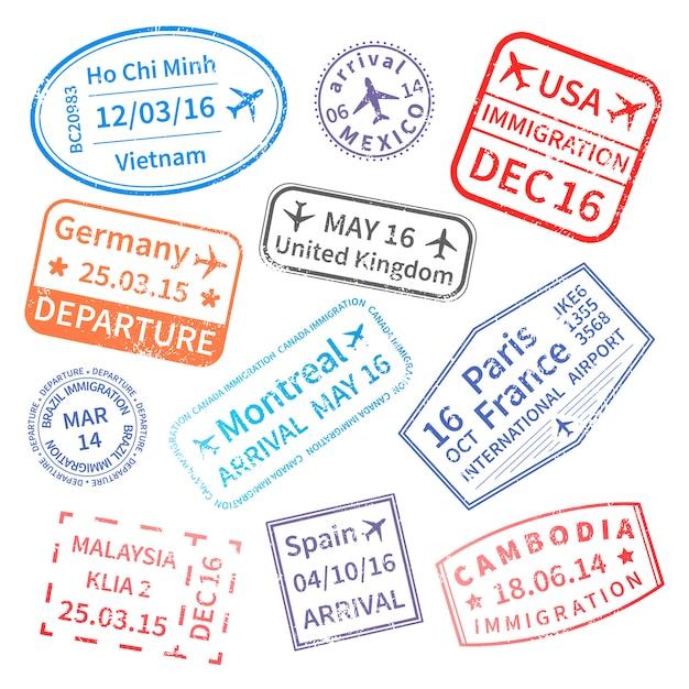 Conjunto de sellos de viajes internacionales Vector Premium