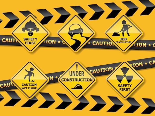 fc6131c1a833f Conjunto de señal de precaución de advertencia