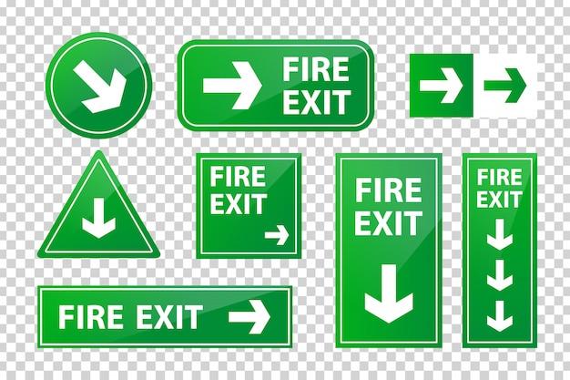 Conjunto de señal de salida de incendio aislada realista para decoración y revestimiento en el fondo transparente. Vector Premium