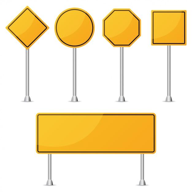 Conjunto de señal de tráfico en blanco amarillo. ilustración vectorial Vector Premium