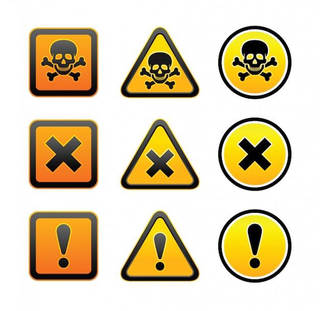 Conjunto de señales de advertencia de peligro Vector Premium