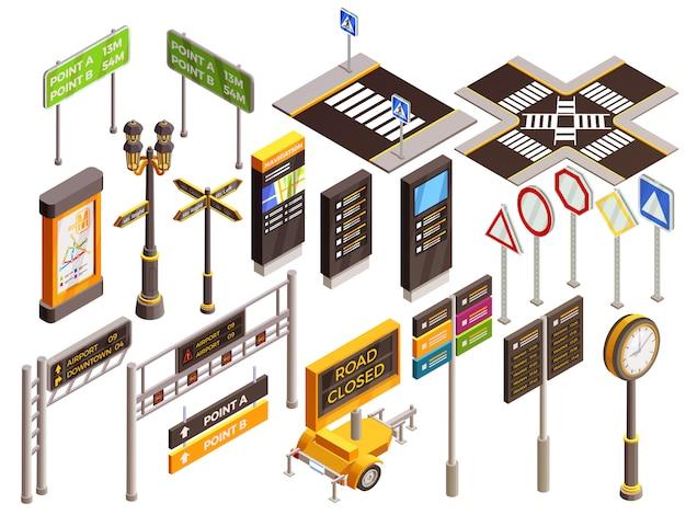 Conjunto de señales de dirección urbana vector gratuito