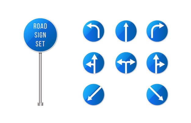Conjunto de señales de tráfico europeas. señal de carretera redondeada azul con flechas. conjunto de signos de puntero. Vector Premium