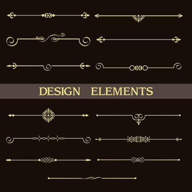 Conjunto de separadores decorativos vintage dorados. Vector Premium